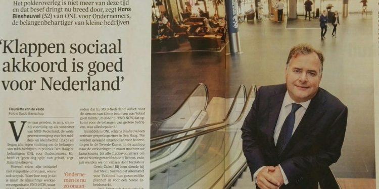 Klappen sociaal akkoord is goed voor Nederland - Hans Biesheuvel in Elsevier