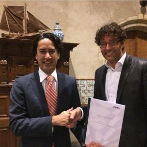Burgemeester Harald Bergmann (Middelburg) met Erik Jan Koedijk