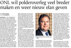 Artikel Eindhovens Dagblad - ONL wil polderoverleg veel breder maken en weer nieuw elan geven 20140402