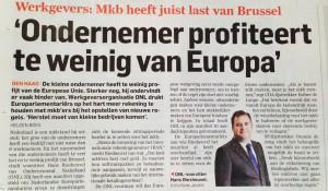 Ondernemer profiteert te weinig van Europa - AD 13 mei