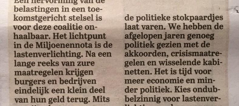 2015 11 05_Telegraaf_Column Hans Biesheuvel_Its the economy stupid