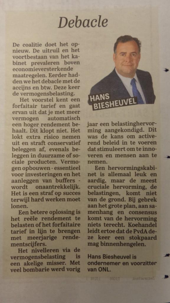 20150924_Column Hans Biesheuvel - Debacle - Telegraaf - Vermogensbelasting