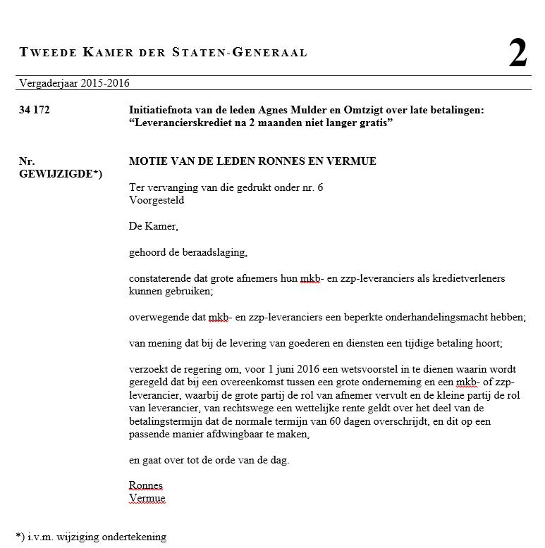 2016 02 09_Aangenomen motie_Ronnes - Vermue_Wettelijke rente bij extreme betalingstermijnen (t.v.v._34172,_nr._6). PNG