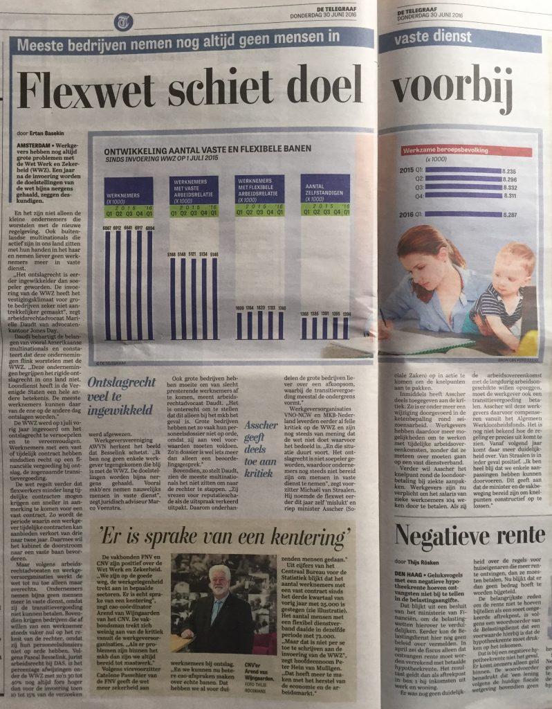 2016 06 30_Telegraaf_WWZ_Flexwet schiet doel voorbij