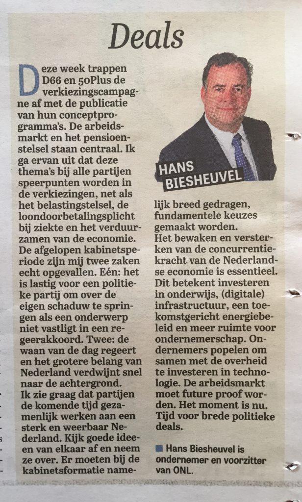 2016 08 28_Telegraaf_Column_Hans Biesheuvel_Deals