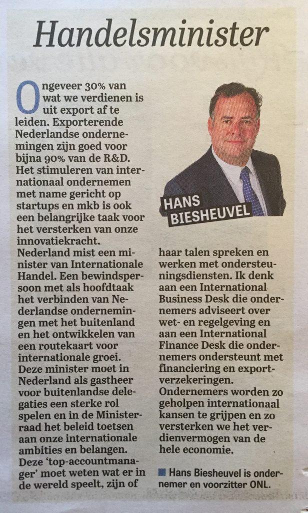 2016-10-06_telegraaf_column_hans-biesheuvel_handelsminister-handelsminister