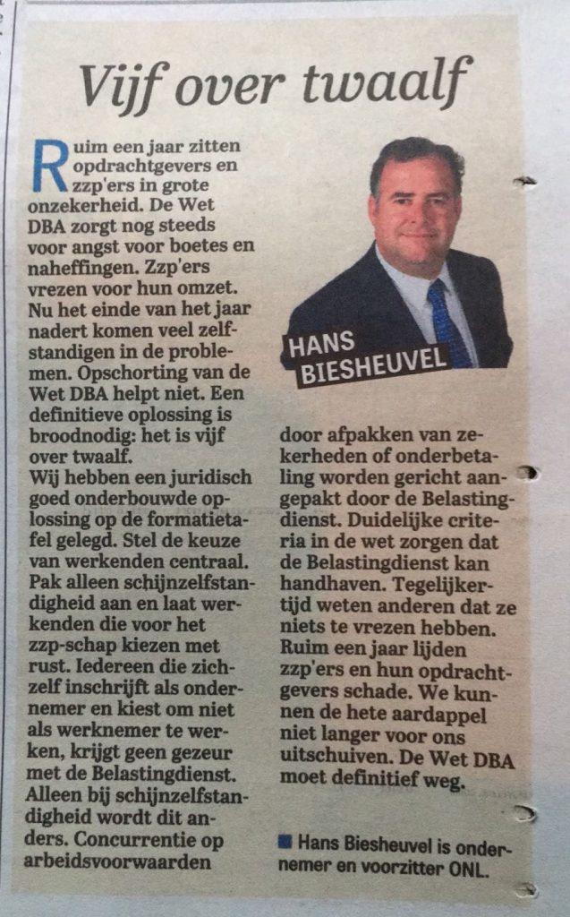 Vijf over twaalf column Hans Biesheuvel in de Telegraaf