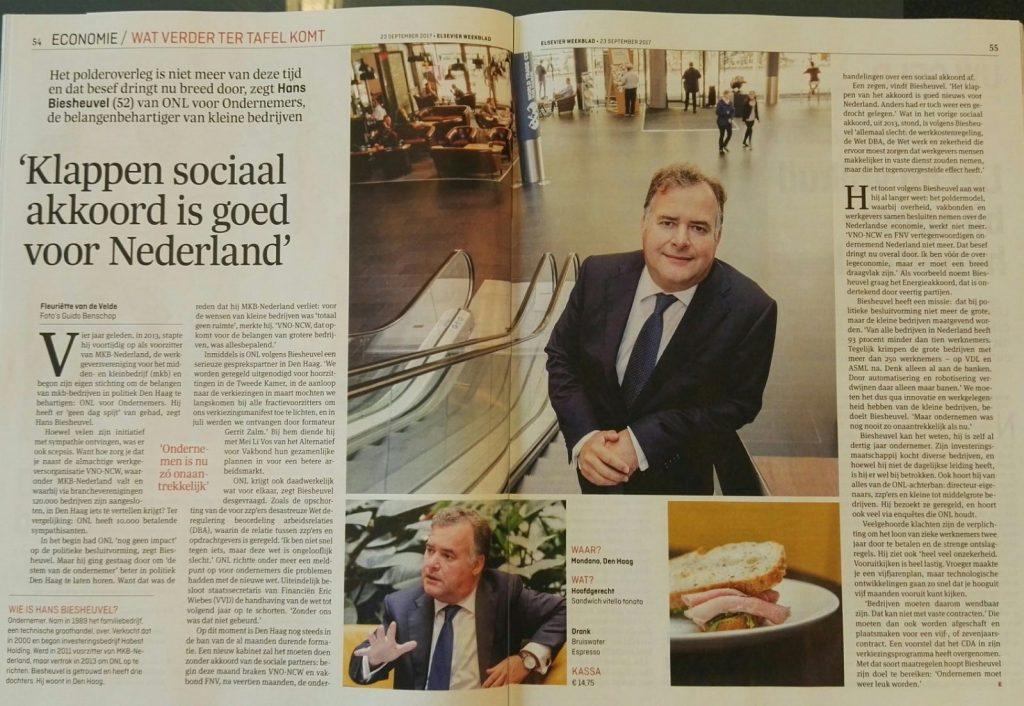Klappen sociaal akkoord is goed voor Nederland- Hans Biesheuvel in Elsevier