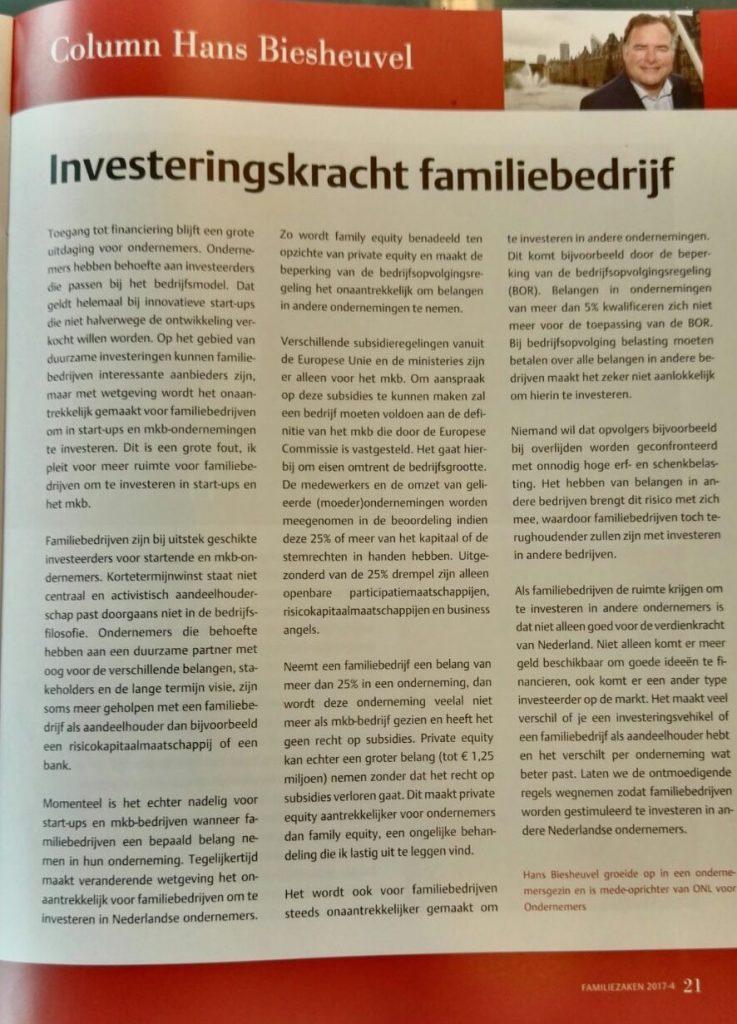Investeringskracht familiebedrijf column Hans Biesheuvel vakblad FamilieZaken