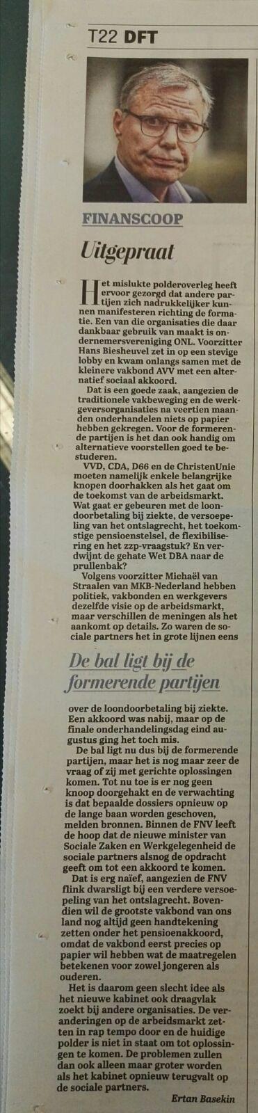 Telegraaf - Uitgepraat -DFT