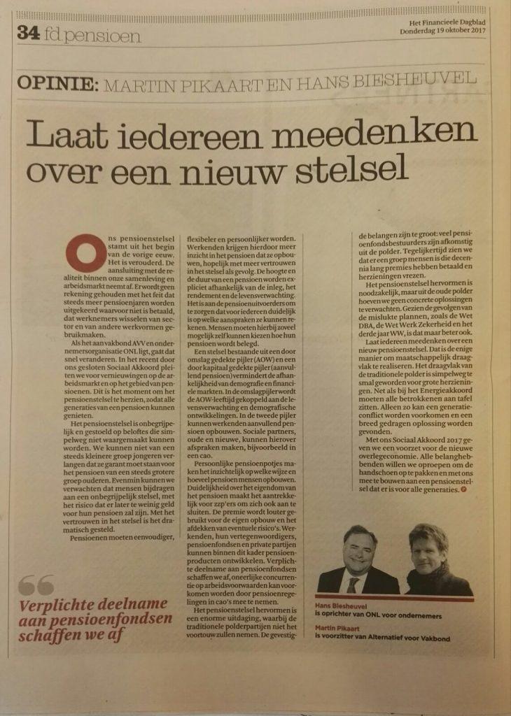 Opinie Hans Biesheuvel en Martin Pikaart - Laat iedereen meedenken over een nieuw stelsel - fd pensioen