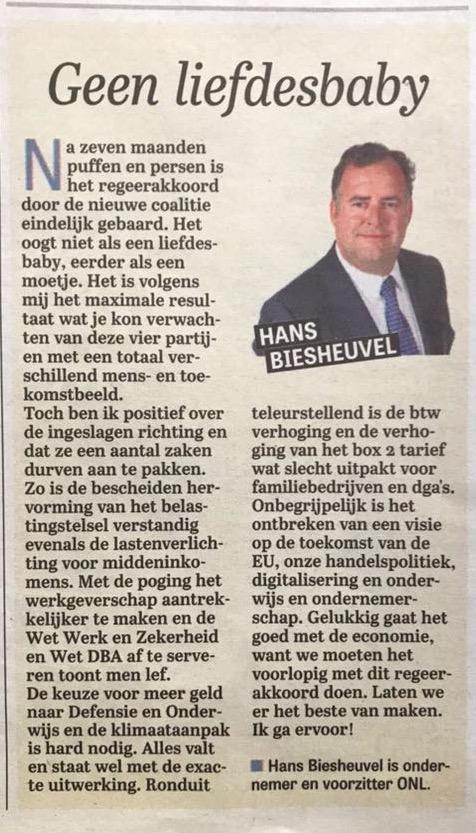 Column Telegraaf - Geen liefdesbaby - Hans Biesheuvel over het regeerakkoord