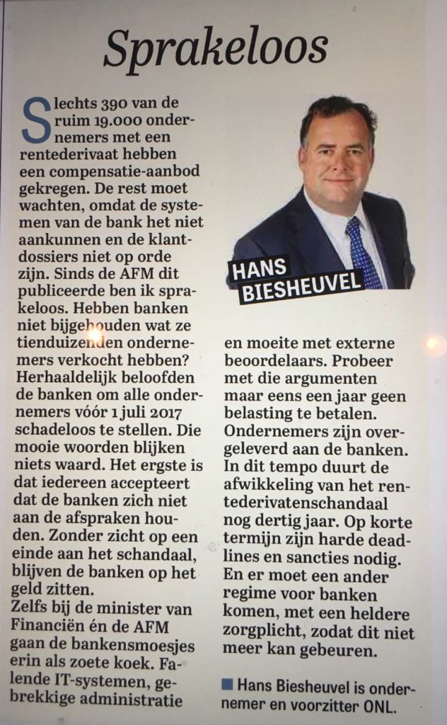 Sprakeloos over rentederivaten