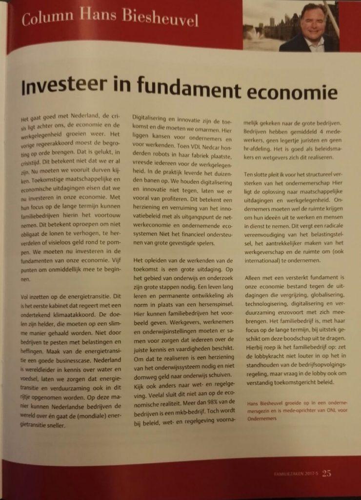 Investeer in fundament economie - column Hans Biesheuvel - vakblad FamilieZaken