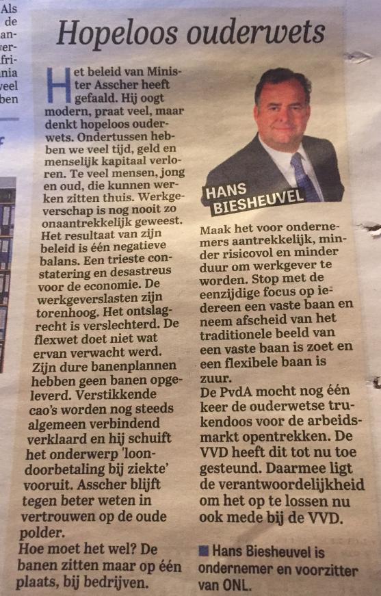 Column Hans Biesheuvel - Telegraaf 3 december - Hopeloos Ouderwets.Print