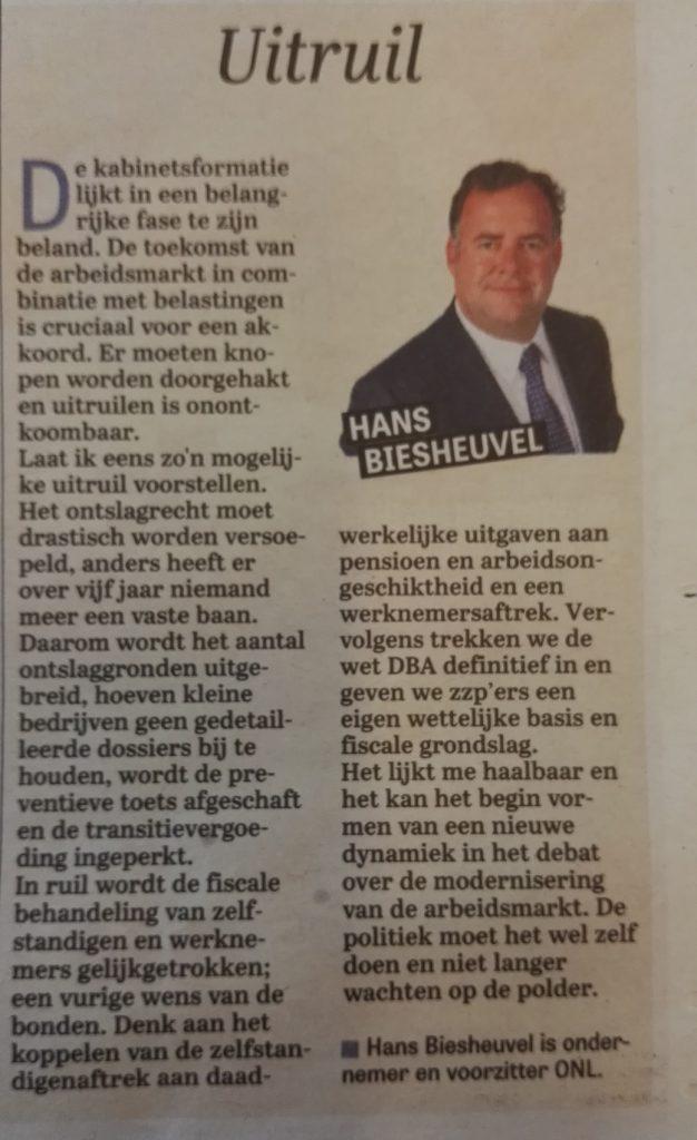 Uitruil, column van Hans Biesheuvel in de telegraaf over de Kabinetsformatie
