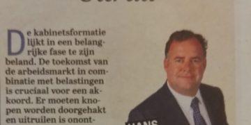 Uitruil column Hans Biesheuvel in de Telegraaf over de Kabinetsformatie (header)