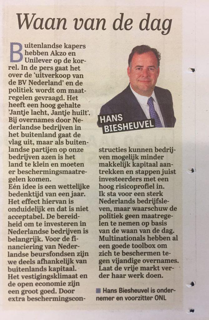 Column Hans Biesheuvel over bescherming Nederlandse bedrijfsleven