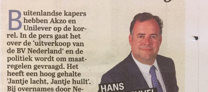 Column Hans Biesheuvel in de Telegraaf 'waan van de dag'