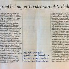 Arbeidsmigratie is ontzettend belangrijk voor Nederland - opinieartikel Hans Biesheuvel