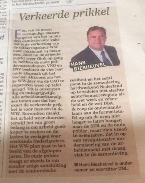 Verkeerde prikkel - Column Hans Biesheuvel - Telegraaf