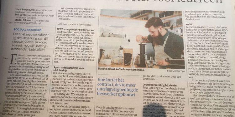 Hans Biesheuvel in Volkskrant Dit sociaal akkoord is beter voor iedereen