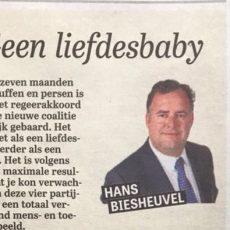 Geen liefdesbaby column Hans Biesheuvel in telegraaf over regeerakkoord