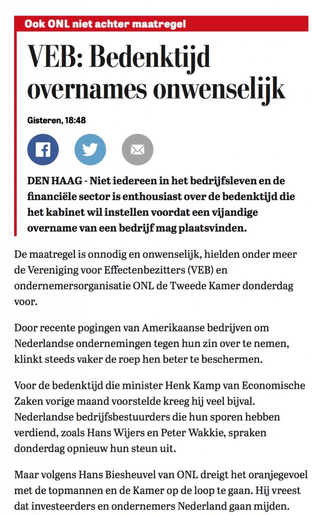 Ook ONL is tegen bedenktijd overnames als bescherming Nederlands bedrijfsleven