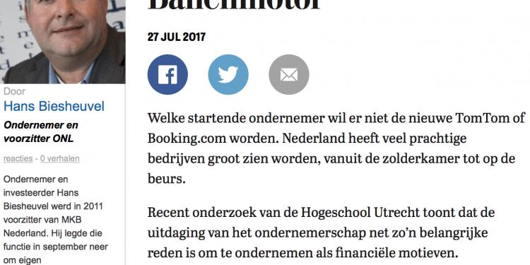 Banenmotor column Hans Biesheuvel in de Telegraaf