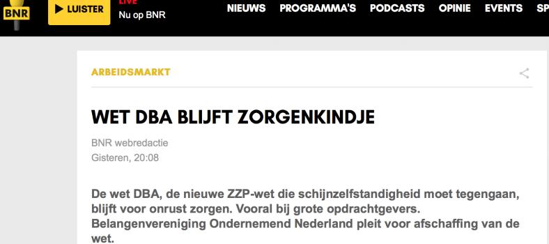 BNR - Wet DBA blijft een zorgenkindje
