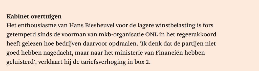 ONL-FD- Hans Biesheuvel over verhoging tarief Box 2